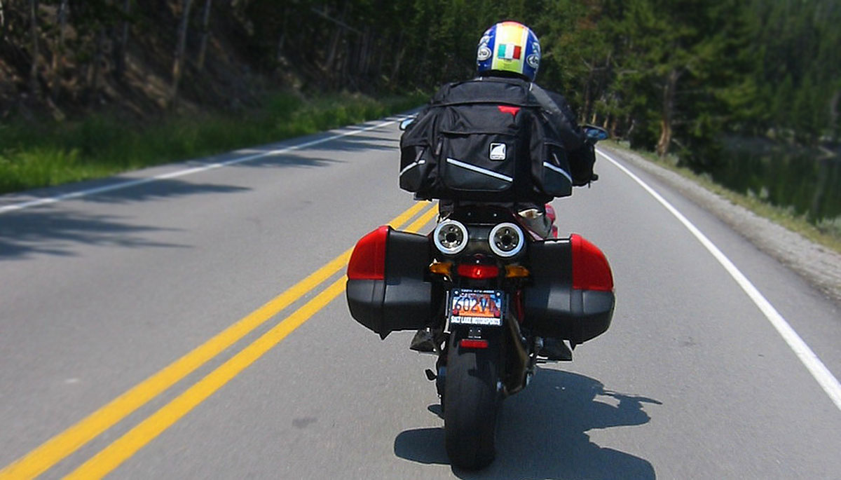 Ventura Motorcycle Luggage Rack System Mounted and in use during a road trip tour through Yellowstone National Park