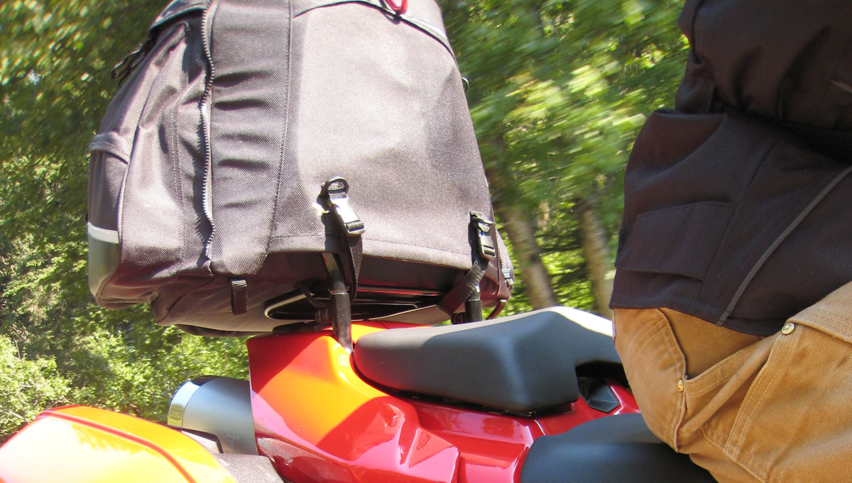 Ventura Motorcycle Luggage System in use where nothing touches the paint or scratches the finish