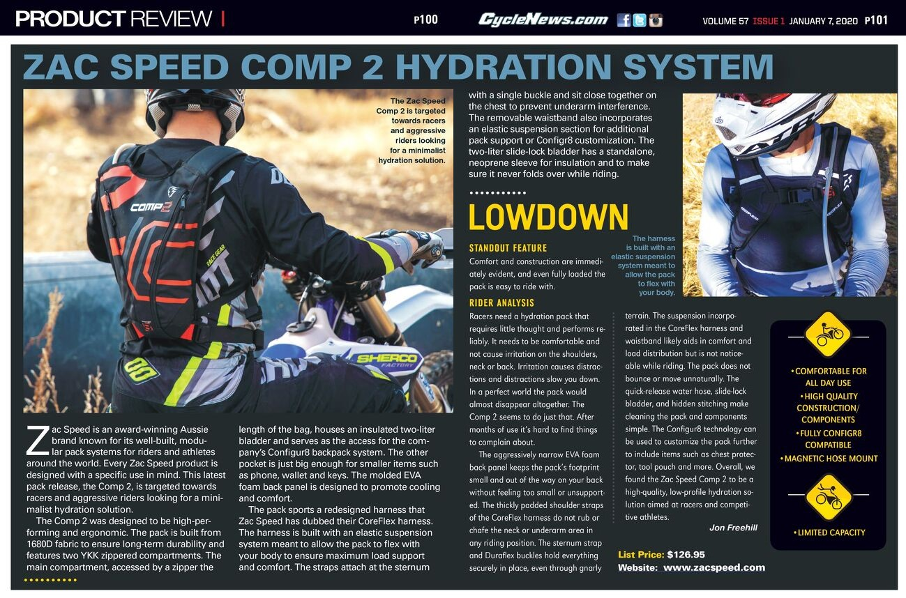 ZAC SPEED COMP 2 HYDRATION BACKPACK – Review By Cycle News
