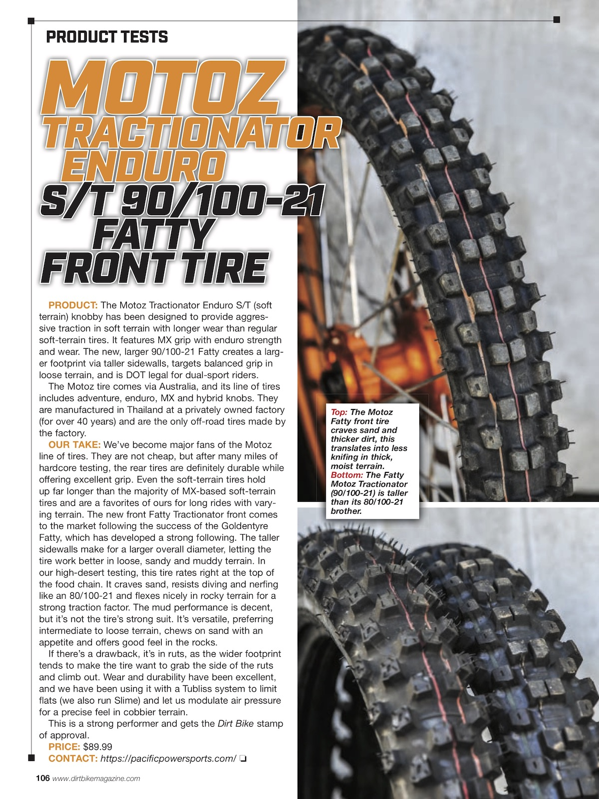 MOTOZ TRACTIONATOR ENDURO S/T 90/100-21 FATTY FRONT TIRE – Review By DirtBikeMagazine